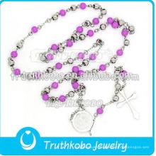 Chapado al vacío 5 mm rosario cadenas de cuentas collar religioso con corte láser grabado patrón tribal Virgen María cruz colgante de joyería