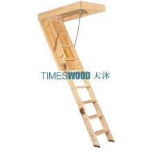 Escada de madeira elegante do Loft dobrando (modelo não-isolado)