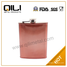 7oz metal stainless steel copper painted hip flask