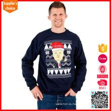 Venta al por mayor divertido Doanld trump patrón de punto de Navidad suéter para hombres