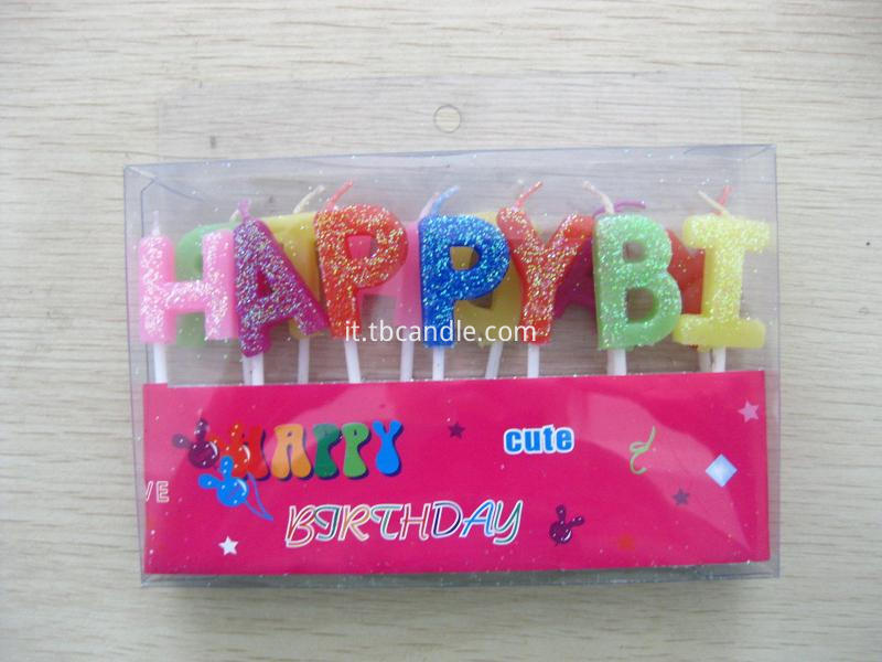 HAPPY BIRTHDAY letter candle with glitter powder
