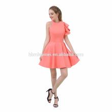 Venda quente boa qualidade barato rosa cor elegante curto vestido de noite mulheres