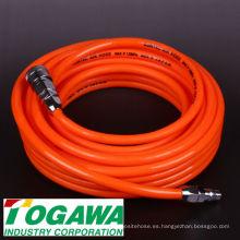 Manguera flexible de aire acondicionado de poliuretano para herramientas de aire en la fábrica (air tucker). Hecho en Japón por la industria Togawa
