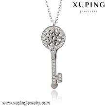 Collier-00066 Mode Charme Rhodium CZ clé en acier inoxydable Imitation bijoux pendentif collier