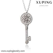Necklace-00066 Fashion Charm Rhodium CZ Key Stainless Steel Imitation Jewelry Pendant Necklace