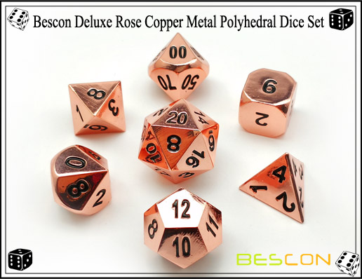 Bescon Deluxe Rose Copper Metal Polyhedral Dice Set-4