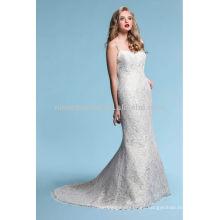 Sexy Spaghetti Backless Sirena vestido de novia 2014 Nuevo diseño de encaje vestido de novia NB014