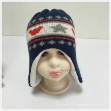 2016 Двойной слой 100% акриловый новый симпатичный жаккардовый трикотажная детская шапка-ушанка