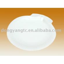 Placa de condimento de porcelana branca lisa personalizada