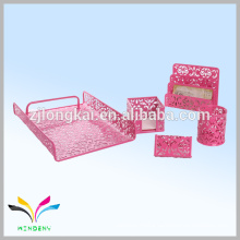 Hangzhou manufacture metal mesh pink school stationery set for kids