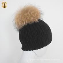 Unisex-Stil Schwarz Wolle gestrickte Beanie Hut mit Pelz Pom Pom Ball