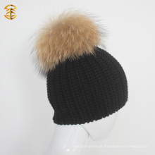 Unisex Style Black Wool Knitted Beanie Hat com pele Pom Pom Ball