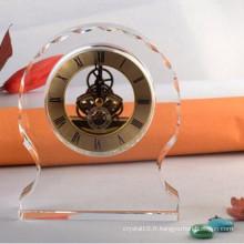Horloge de bureau ronde en cristal clair Ks060406