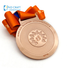 High quality cheap custom embossed logo customized medallion metal 3D copper plated sport cheerleading medal