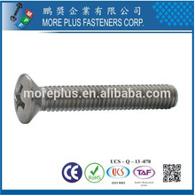 Made in Taiwan Factory DIN966 Stainless Steel Phillips Raised Countersunk Oval Head Machine Screw