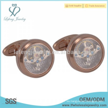 Mancuerna de oro rosa único, joyería de cufflink de cobre, mancuerna de movimiento de reloj