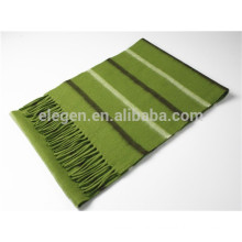 Yarn Dyed Stripe Cashmere Scarf With Fringe