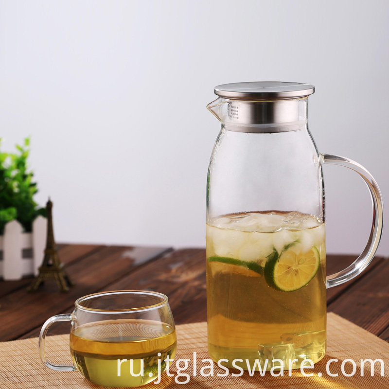 Glass Pitcher with Stainless Steel Lid