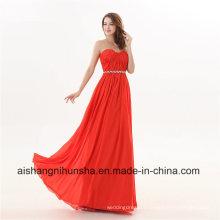 Women Chiffon Sweetheart Crystals A-Line Long Evening Dress