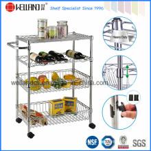 Multifunction Adjustable Metal Metallic Wire Mesh Basket Food Trolley Cart