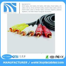 5FT (1.5M) Cable plateado de oro Cable triple de 3-RCA compuesto AV Cable de audio y video Cable de audio
