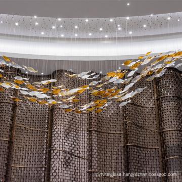 Large Interior Glass amber white rectangle modern chandelier