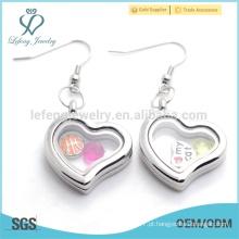 Handmade coração grande forma de prata lisa memória flutuante brincos com magnético