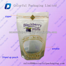 Food grade Plastic standing zipper pouch/Laminated plastic stand bag for dry fruit&food/Stand up pouch with zipper and window
