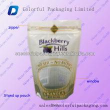 Grau alimentício plástico em pé com zíper bolsa / saco de carrinho de plástico Laminado para frutas secas e alimentos / stand up pouch com zíper e janela