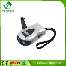 Hot-venda de plástico 2 LED mão agitar lanterna dinamo recarregável com carregamento de telemóvel
