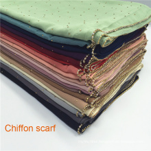 wholesale rhinestone chain beaded bubble chiffon hijab muslim beaded hijab scarf for women