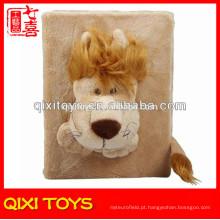 Tampa da pele do álbum de fotografias das lembranças do brinquedo do Velor do luxuoso do leão de Brown