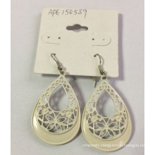 Fashion White Lace Flower Earrings with Metal