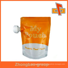 manufacturer high quality packaging material stand up pouch with corner spout for liquid/beverage packaging