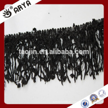 Poliéster cortina de stock borla negro franja