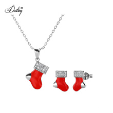 Red Enamel with Crystals Christmas Socks Design Pendant and Earrings Set Best Gift on Christmas