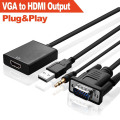 VGA Audio to HDMI Cable Adapter (FULL HD 1080P+Built-in Chipset)
