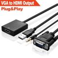 Adaptador de cable de audio VGA a HDMI (Chipset integrado FULL HD 1080P +)