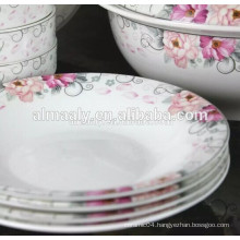 customized printed porcelain omega plate for food or soup