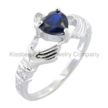 Fashionable 925 Sterling Silver Jewellery Heart Gemstone Ring (KR3101)