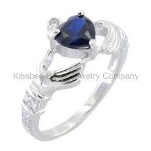 Moda 925 prata esterlina jóias coração gemstone anel (kr3101)