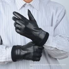 warm winter genuine black sheepskin mens leather gloves with rib cuff