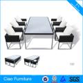 Table et chaises en aluminium de restaurant de meubles en aluminium de rotin