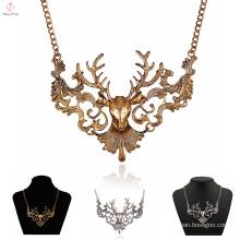 Custom Latest Design Choker Deer Necklace, Hollow Out Vintage Statement Deer Necklace