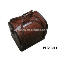 hot sell leather cosmetic bag with brown crocodile pattern&4 removable trays inside