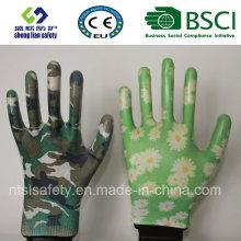 Sicherheitshandschuhe Nitril beschichtete gedruckte Gartenhandschuhe (GN901)