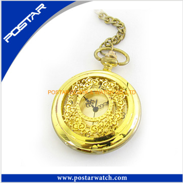 Golden Stainless Steel Case Pocket Watch with Iron Chain