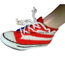 Cute Soft Socks Feito à Mão Crochet Sneakers Chinelos Meias