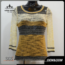 Women Stripes Half Sleeve Sweater