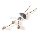 Cold Style Black Crystal Gemstone Chain Necklace Black Flower Necklace